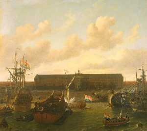 Ludolf Backhuysen - The Dock of the Dutch Eas..