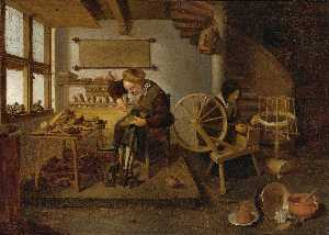 Quiringh Gerritsz Van Brekelenkam - A Cobbler at Work, his Wife spinning Wool