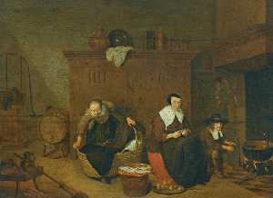 Quiringh Gerritsz Van Brekelenkam - an Interior with a woman peeling turnips