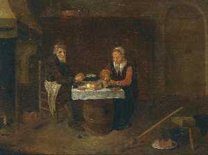 Quiringh Gerritsz Van Brekelenkam - A modest interior with an elderly couple seated at a table, eating mussels and bread