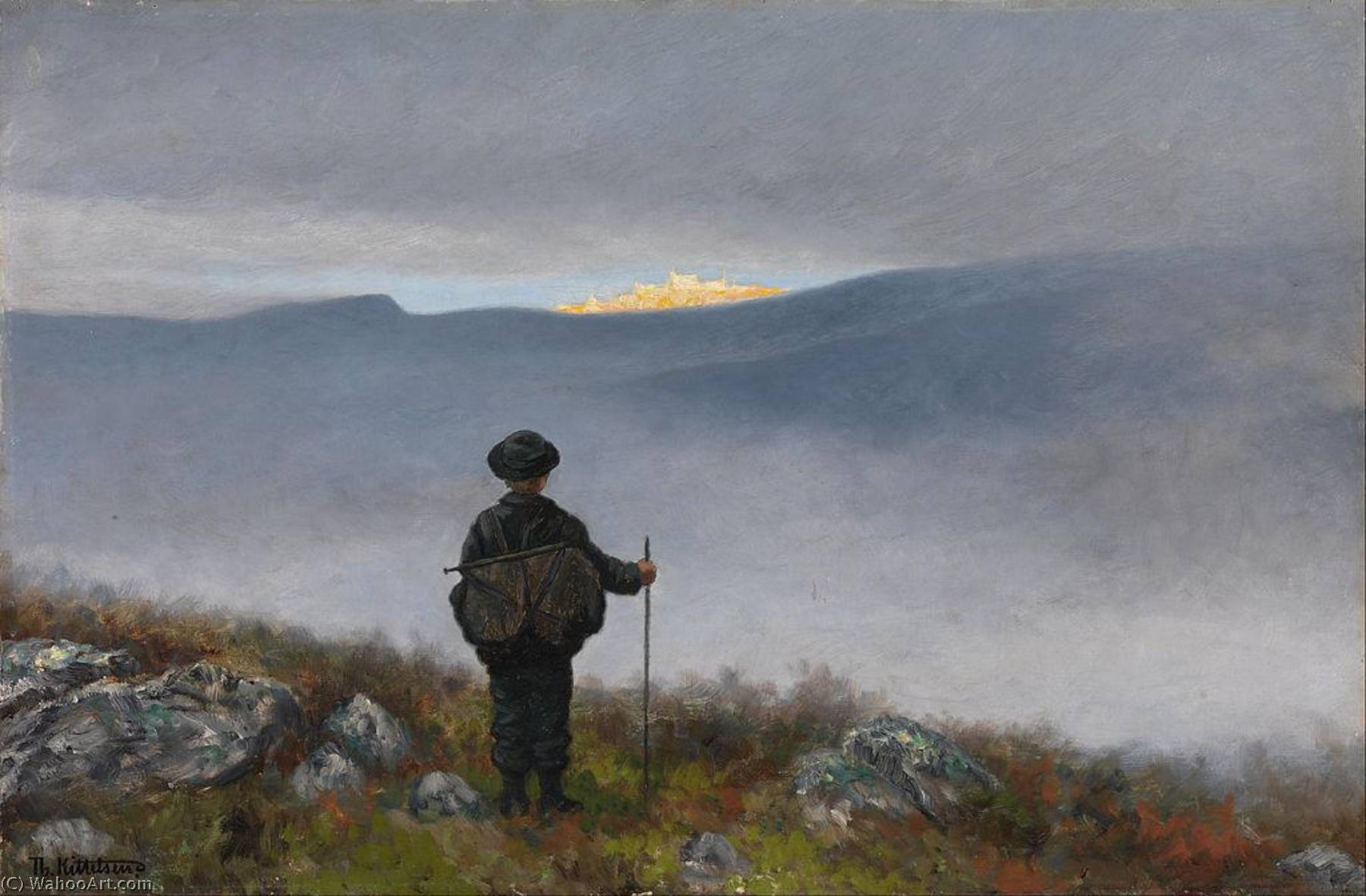 Far, far away Soria Moria Palace shimmered like Gold, 1900 by Theodor Kittelsen (1857-1914) | Oil Painting | ArtsDot.com