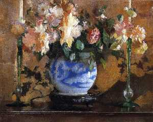 Edmund Charles Tarbell - Flowers in a Blue Ginger ..