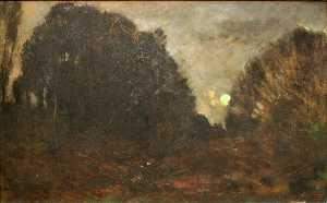 Charles François Daubigny - Rising Moon in Barbizon