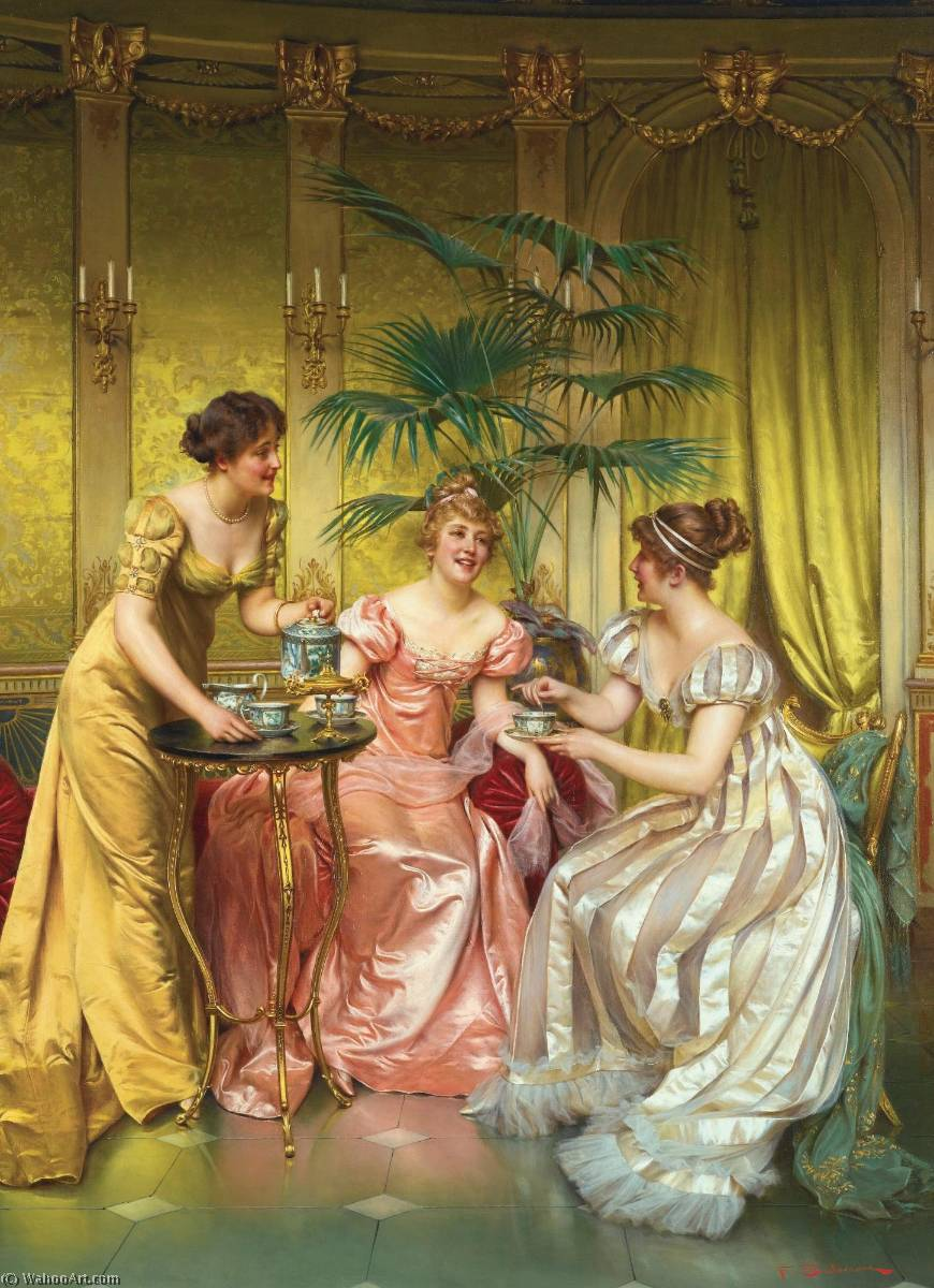 Order Art Reproduction : Afternoon Tea by Charles Joseph Frédéric Soulacroix (1825-1899) | ArtsDot.com