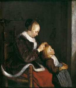 Gerard Ter Borch The Younger - A Mother Combing the Hair of her Daughter (also known as Hunting for Lice)