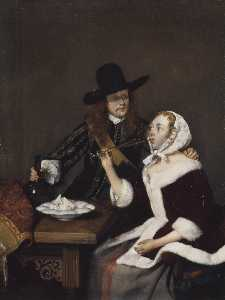 Gerard Ter Borch The Younger - A Gentleman Pressing a Lady to Drink