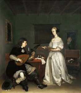 Gerard Ter Borch The Younger - Duo, Singer and Theorbo Player