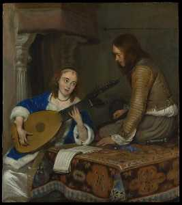 Gerard Ter Borch The Younger - A Woman Playing the Theorbo Lute and a Cavalier