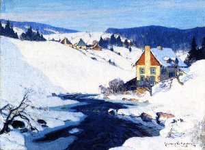 Clarence Alphonse Gagnon - Mill and Stream, Morning Sun