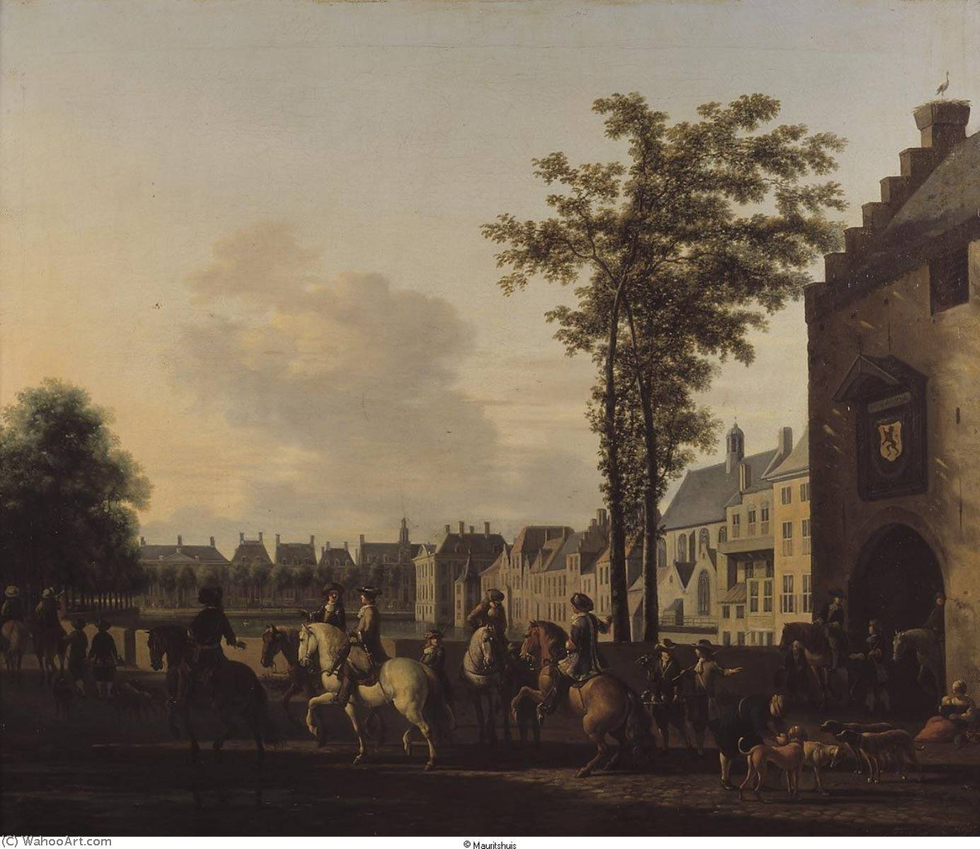 A Hunting Party near the Hofvijver in The Hague, 1690 by Gerrit Adriaenszoon Berckheyde (1638-1698) | Museum Quality Reproductions | ArtsDot.com