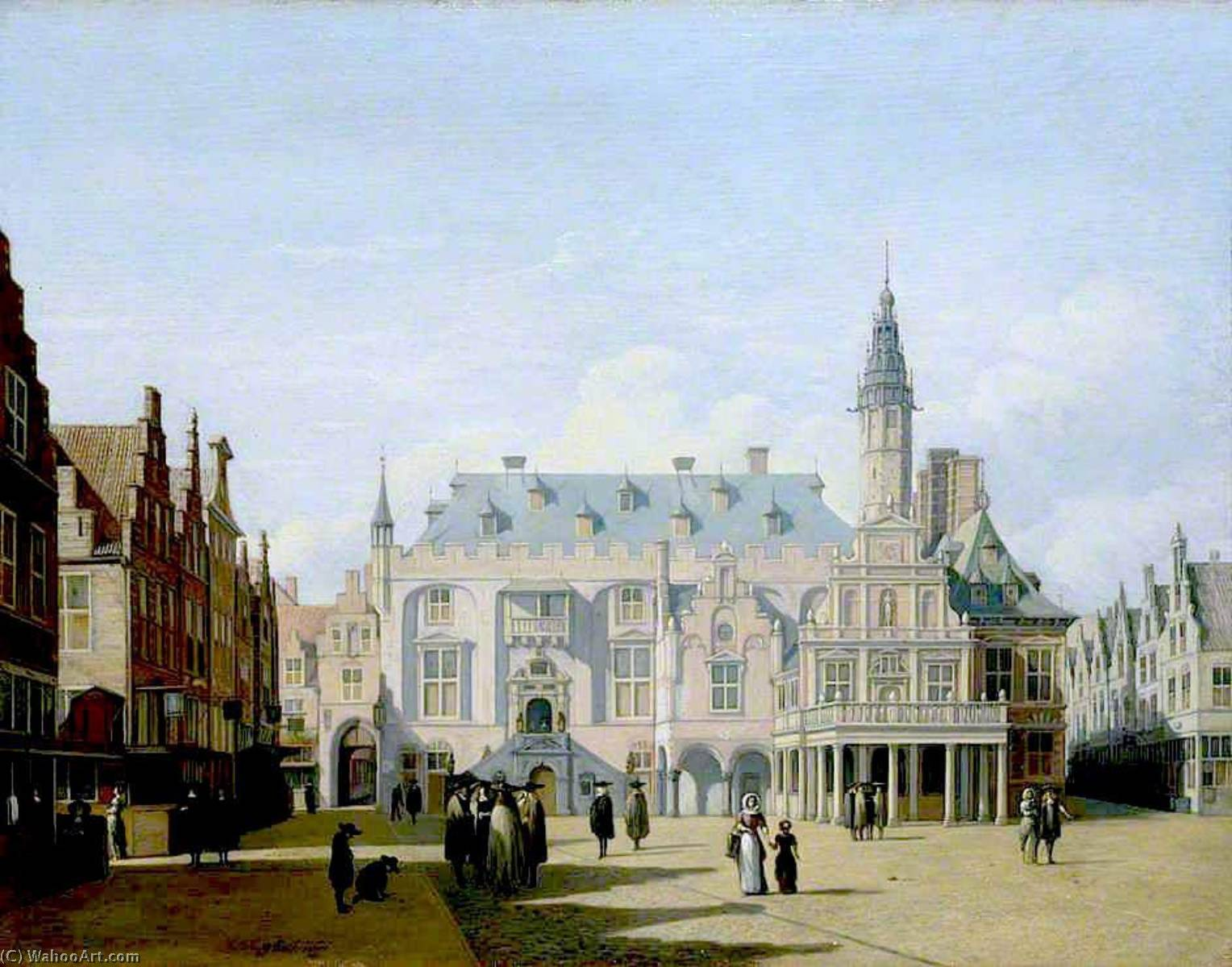 The Market Place and Town Hall, Haarlem, 1691 by Gerrit Adriaenszoon Berckheyde (1638-1698) | Museum Art Reproductions | ArtsDot.com
