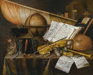 Edwaert Collier - A vanitas still life with books and leaflets, a globe, a princely flag, a musical score, musical instruments and an hourglass on a draped table with a silver tazza, coins, a watch and a purse