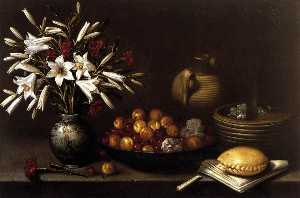 Francisco Barrera - Still Life with Flowers and Fruit