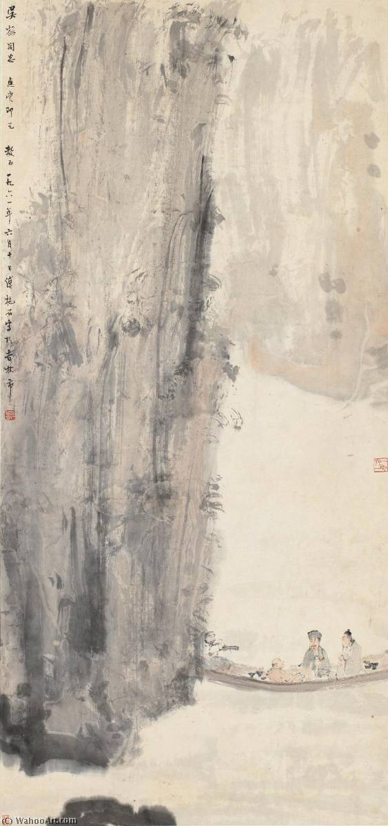 SCHOLARS TRAVELLING AT THE RED CLIFF by Fu Baoshi (1904-1965) |  | ArtsDot.com