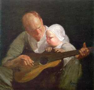 George Benjamin Luks - Man and Child with Guitar (also known as Portrait of the Artist-s Brother with His Son)