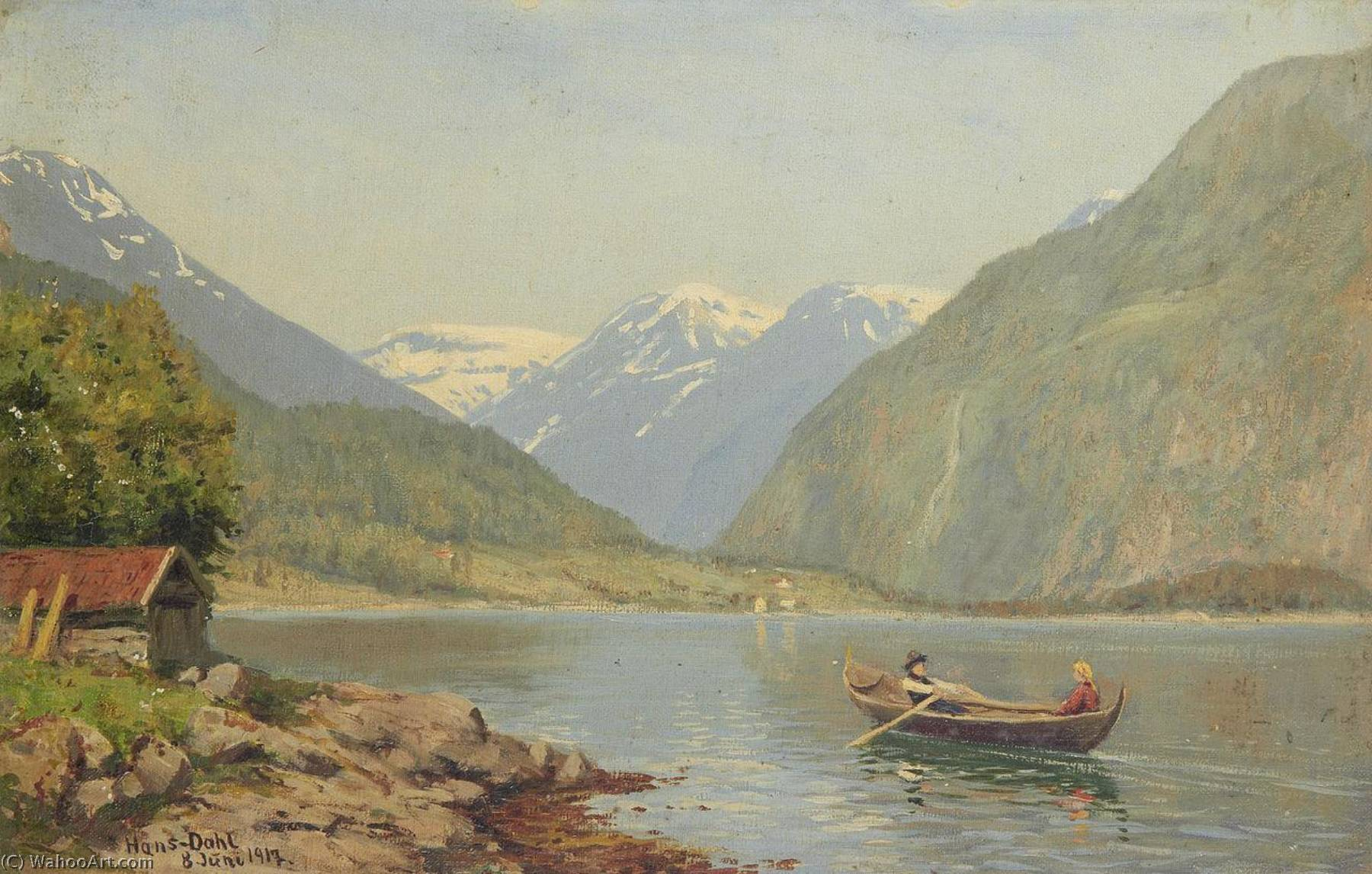 Figures in a Rowing Boat on a Fjord, 1917 by Hans Andreas Dahl (1849-1937, Norway) | Museum Quality Copies Hans Andreas Dahl | ArtsDot.com