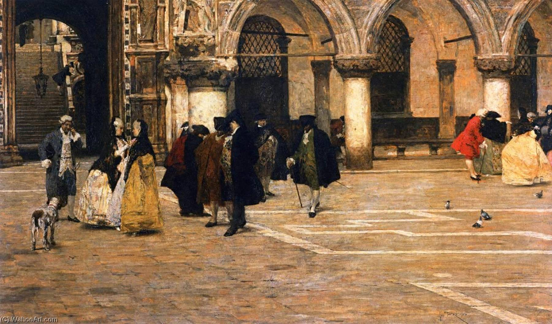 Order Paintings Reproductions | Promenade in the Piazzetta, 1884 by Giacomo Favretto (1849-1887) | ArtsDot.com