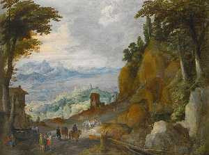 Joos De Momper The Younger - A mountainous landscape with travellers on a path