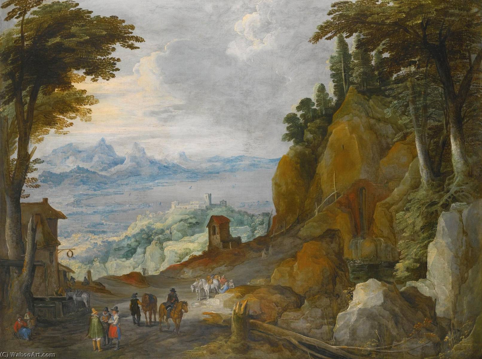 A mountainous landscape with travellers on a path by Joos De Momper The Younger (1564-1635) | Museum Quality Copies Joos De Momper The Younger | ArtsDot.com