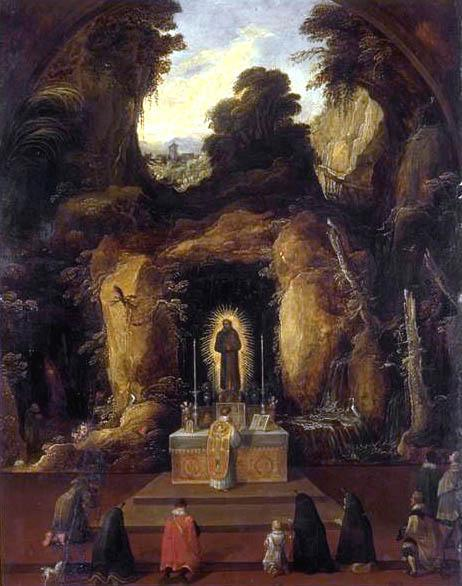 Mass in a Grotto by Joos De Momper The Younger (1564-1635) | Paintings Reproductions Joos De Momper The Younger | ArtsDot.com