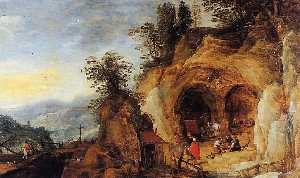 Joos De Momper The Younger - Mountainous Landscape with Caves