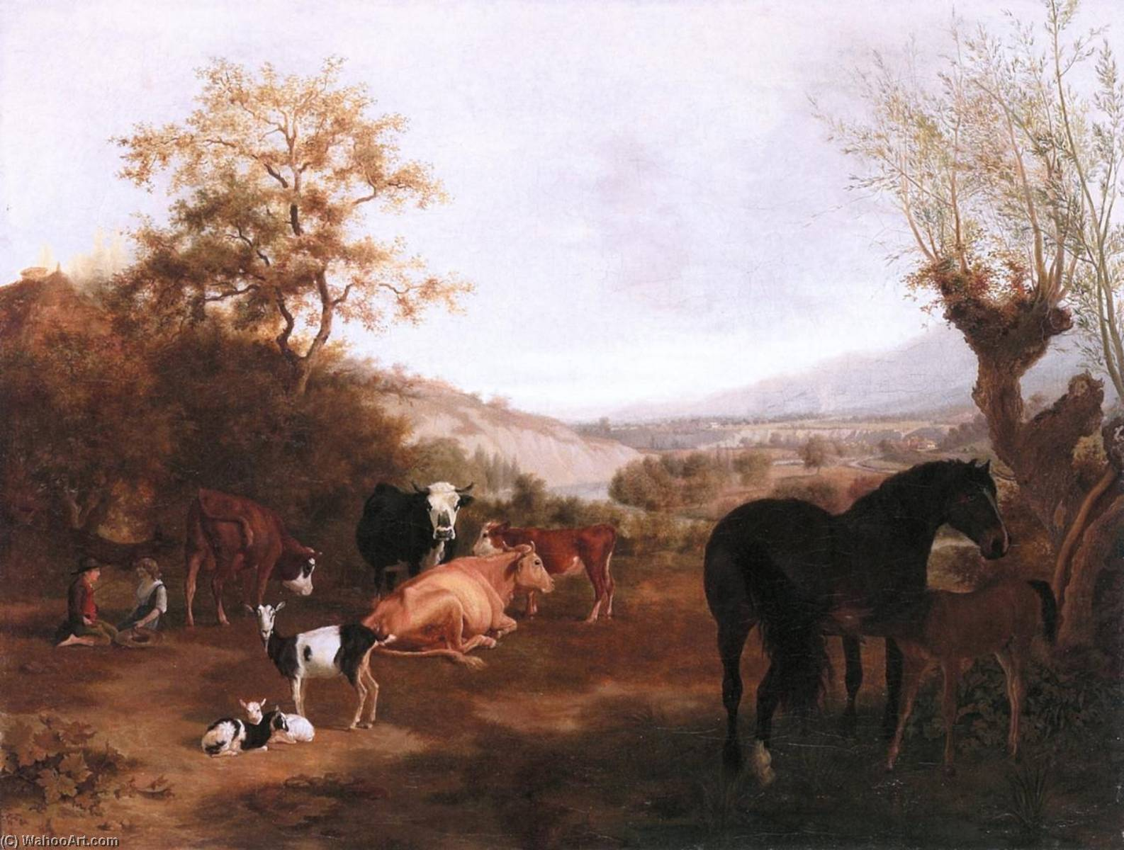 Geneva Landscape with Horses and Cows, 1800 by Adam Töpffer (1766-1847) | Art Reproduction | ArtsDot.com