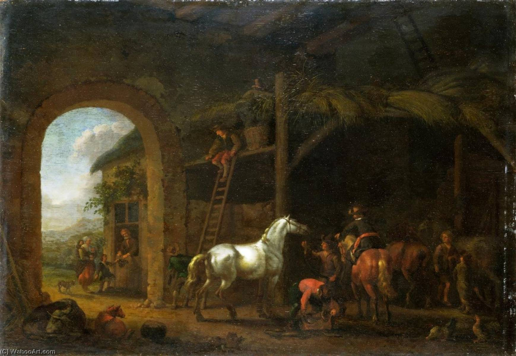 The Interior of a Stable, 1690 by Abraham Pietersz Van Calraet (1642-1722) | Museum Quality Reproductions | ArtsDot.com