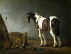 Abraham Pietersz Van Calraet - A Horse with a Saddle Beside it