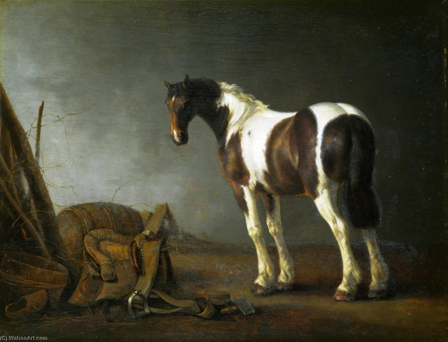 A Horse with a Saddle Beside it, 1680 by Abraham Pietersz Van Calraet (1642-1722) | Painting Copy | ArtsDot.com