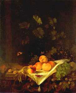 Abraham Pietersz Van Calraet - Still life with Peaches and Grapes