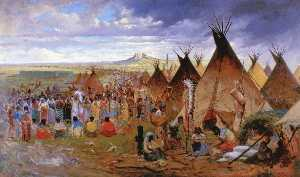 Jules Tavernier - Gathering of the Clans (also known as Sioux Encampment (Red Cloud-s Camp, Wyoming))
