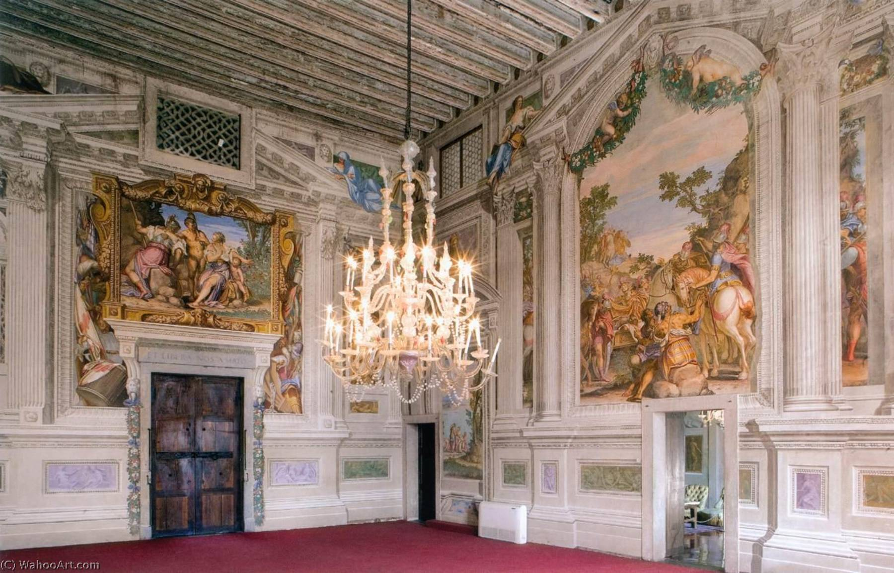Order Paintings Reproductions | View of the central hall, 1561 by Givanni Battista Zelotti (1526-1578) | ArtsDot.com
