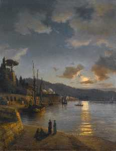 Anton Melbye (Daniel Herm.. - A Turkish Harbour by Moon..