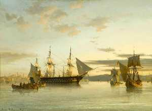 Anton Melbye (Daniel Herm.. - Ships in Calm Water on th..
