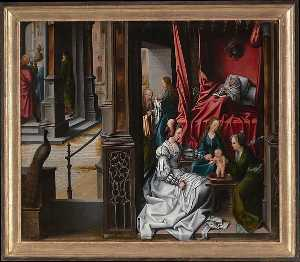 Bernaert Van Orley - The Birth and Naming of Saint John the Baptist (reverse) Trompe l-oeil with Painting of The Man of Sorrows