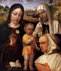 Ambrogio Da Fossano (Ambrogio Bergognone) - Madonna and Child, St Catherine and the Blessed Stefano Maconi
