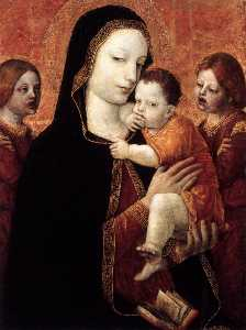 Ambrogio Da Fossano (Ambrogio Bergognone) - Virgin and Child with Two Angels