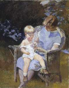 Edmund Charles Tarbell - Marjorie and Little Edmun..