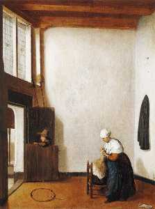 Jacobus Vrel - Interior with a Woman Combing a Little Girl-s Hair