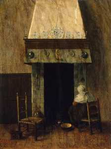 Jacobus Vrel - An Old Woman by a Firepla..