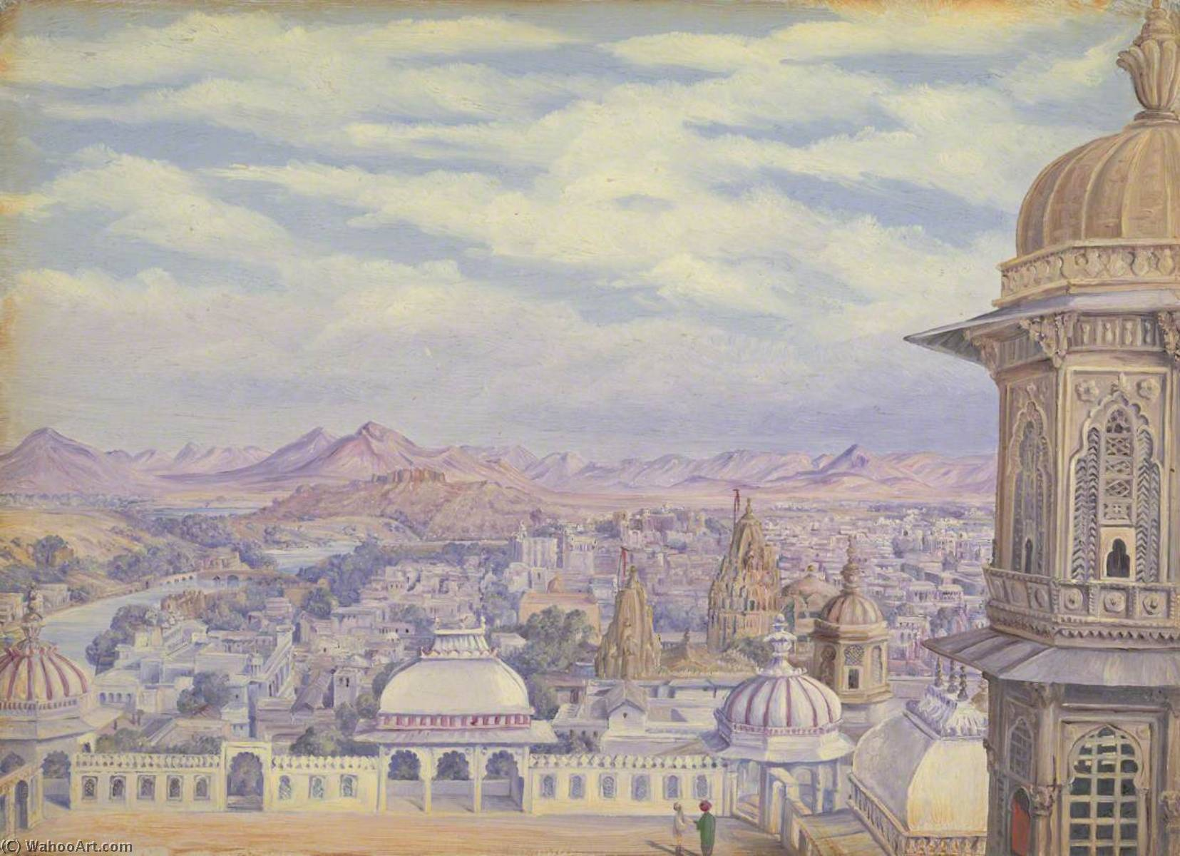 `From the Palace, Oodipore. Janr. 1879`, 1879 by Marianne North (1830-1890, United Kingdom) | Museum Quality Reproductions | ArtsDot.com