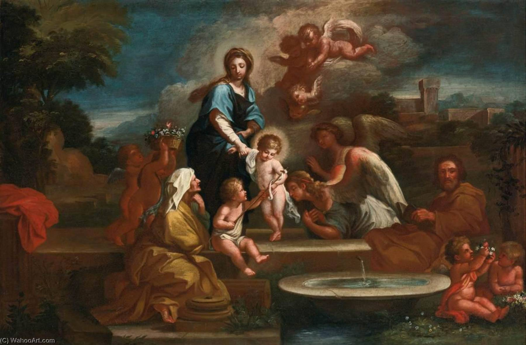 Holy Family with Angels in a Landscape by Luigi Garzi (1638-1721) | Art Reproduction | ArtsDot.com