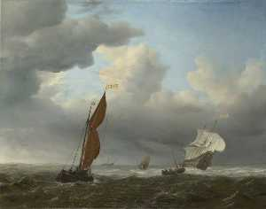 Willem Van De Velde The Elder - A Dutch Ship and Other Small Vessels in a Strong Breeze