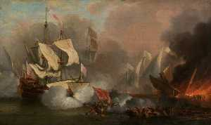 Willem Van De Velde The Elder - Men o- War in Action English Ship and Barbary Pirate Vessels