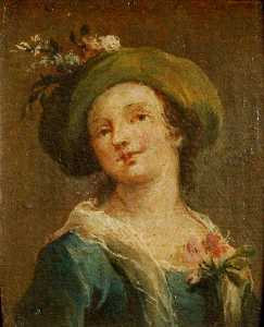 Francesco Lazzaro Guardi - Two Paintings A Girl in a..