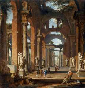 Giovanni Paolo Pannini - Statues in a Ruined Arcad..