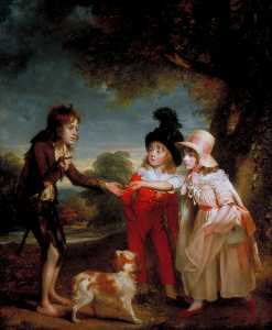 William Beechey - Portrait of Sir Francis Ford's Children Giving a Coin to a Beggar Boy