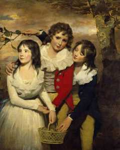 Henry Raeburn Dobson - The Paterson Children Margaret (d.1845), George (1778–1846), and John (1778–1858)