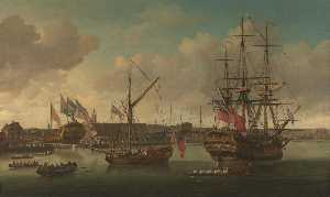 John Cleveley The Elder - A Launching at Deptford