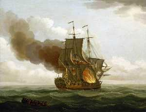 John Cleveley The Elder - The -Luxborough- Galley on Fire